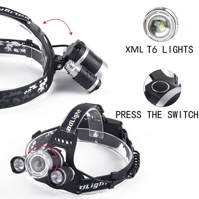 30000 Lumens  3X XM-L T6 LED Headlamp Focus Zoomable Head light Torch Flashlight