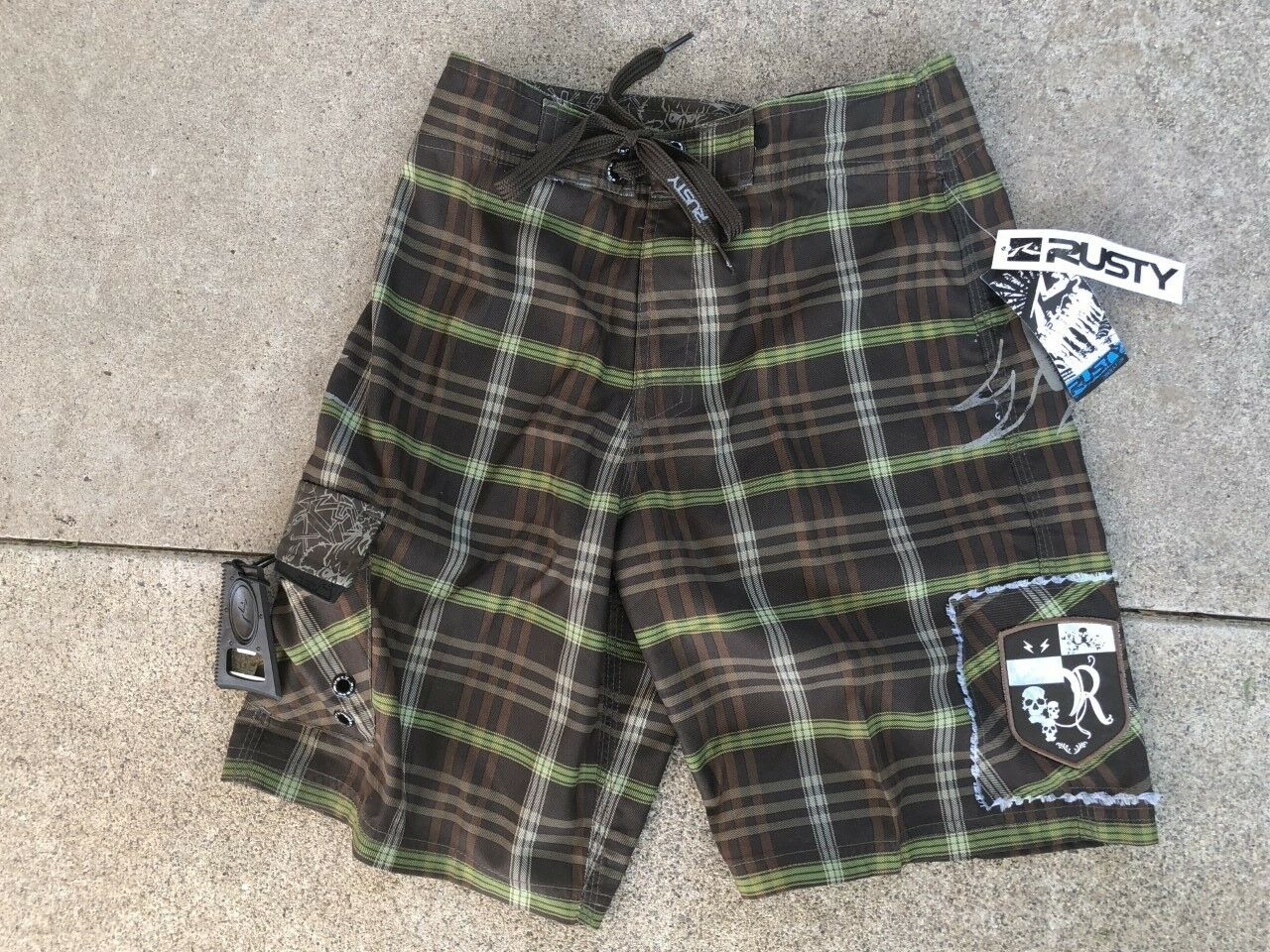 NEW RUSTY BOARDSHORTS SURF SUP SURFING MX HAWAII TRUNKS BOYS   MENS SIZE 26