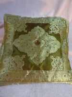 Golden Rayon Sequins And Beads Pillow Cover With A Zipper From India