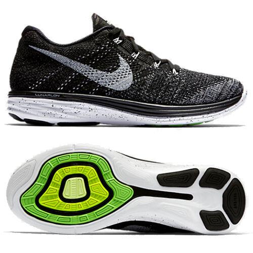 Nike flyknit lunar 3 nero / bianco 698181-010 noi uomini dimensioni 7 - 11
