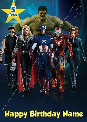 MARVEL SUPER HEROES AVENGERS Personalised Large Birthday Card Son Dad Daughter