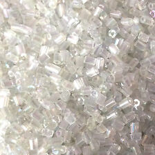 50g glass HEX seed beads - Clear Transparent Lustered size 11/0 approx 2mm 2-cut