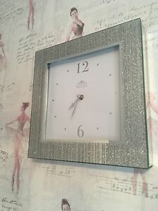 Silver-Striped-Glitter-Frame-Mirror-Sparkle-Square-Wall-Clock-Brand-New