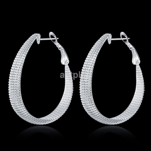 Fashion Beautiful 925 Silver Plated Oval Mesh Large Hoop Earrings US