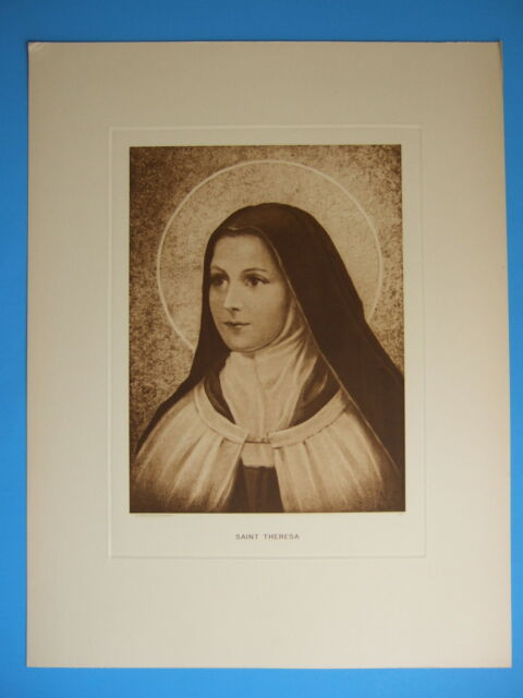 VINTAGE Catholic Print Picture St. Therese Lisieux sepia - never displayed 14x18