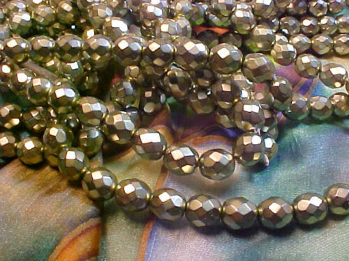 Vtg 50 FACETED FIRE POLISHED PEWTER METALLIC GLASS BEADS 8mm #102113u