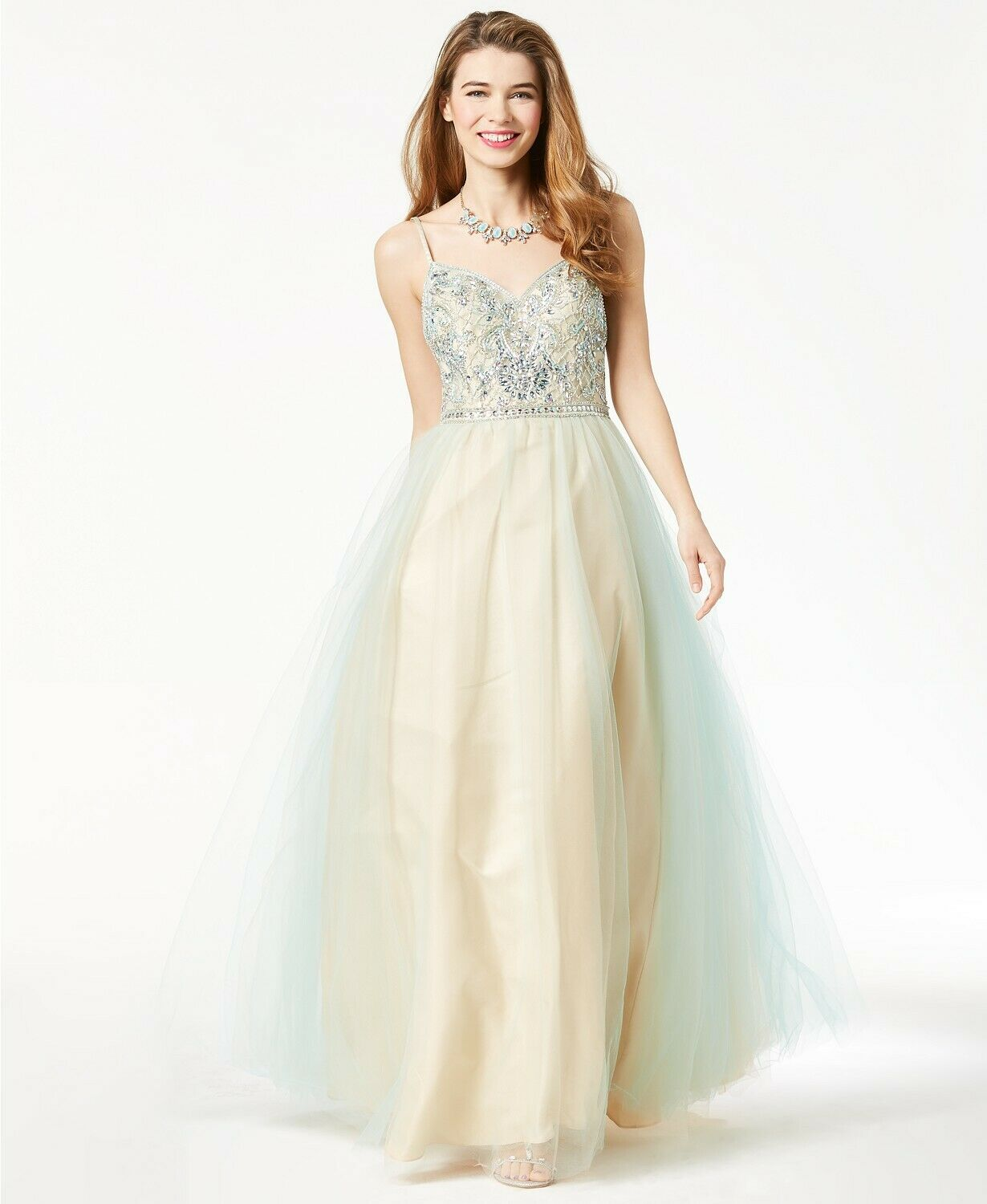 250 SAY YES TO THE THE THE PROM blueE gold EMBELLISHED TULLE GOWN DRESS JUNIOR'S 13 14 db1cb2