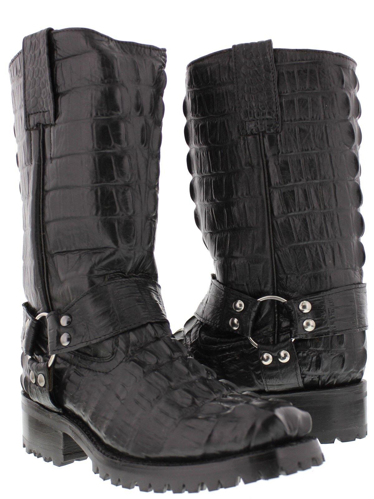 Mens Black Biker Crocodile Western Cowboy Boots Motorcycle Harness Square Toe