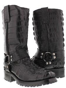 Mens-Black-Biker-Crocodile-Western-Cowboy-Boots-Motorcycle-Harness-Square-Toe