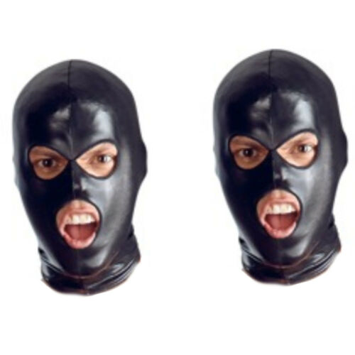 Faux Leather Full Eyes Head Hood Mask Open Halloween Mouth /& 3 Holes Costumes
