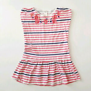 Girls-Top-Shirt-Tunic-Oshkosh-Size-7-Stripes-Floral-Cotton-Spring-Summer