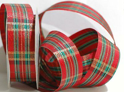 "#9 Scotch Plaid Poly Christmas Ribbon  1 1//4/"" X 25 yards Red Gold Green"