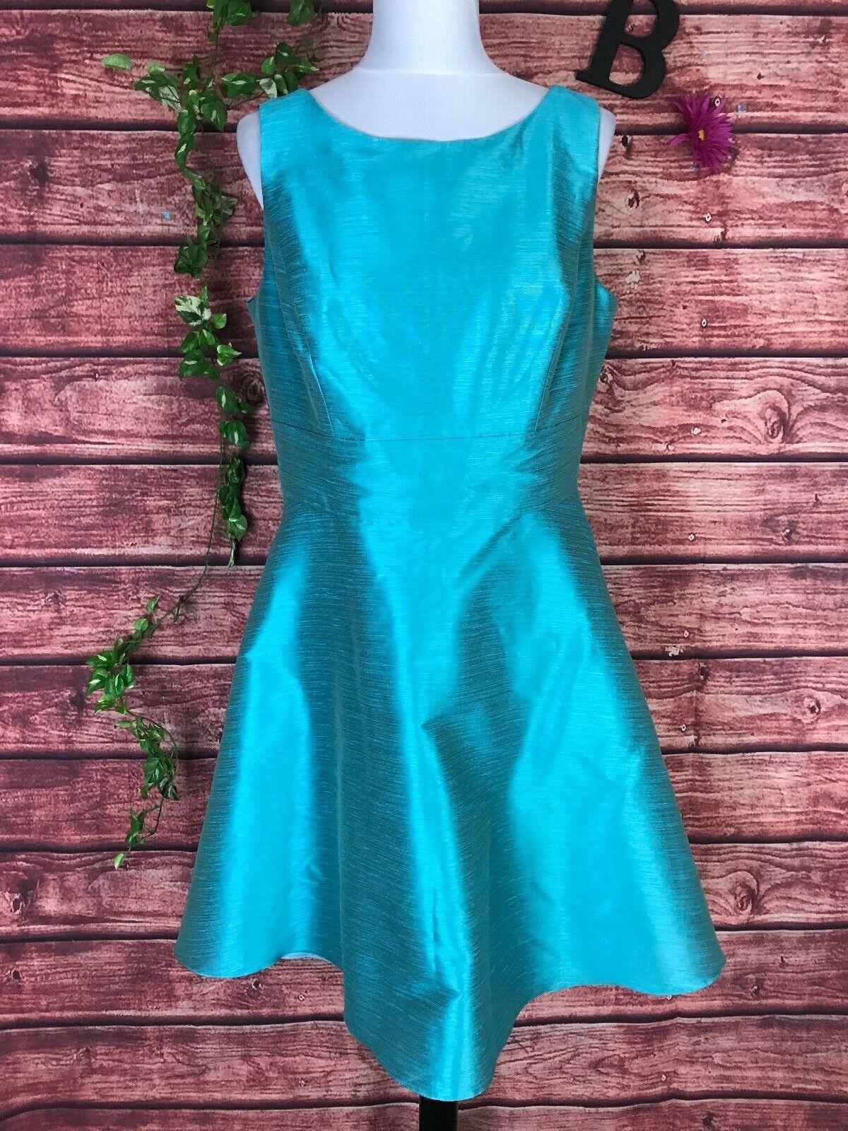 Alfrot Sung Dress Gown 16 Aquamarine Blau Grün Dupioni Wedding Formal Evening
