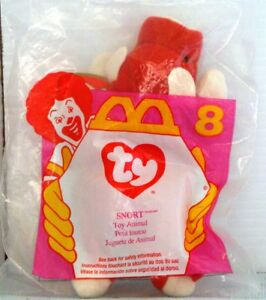 0def42095d7 MIP McD 1997 McDonald s TEENIE Beanie Baby by TY  8 SNORT the BULL ...