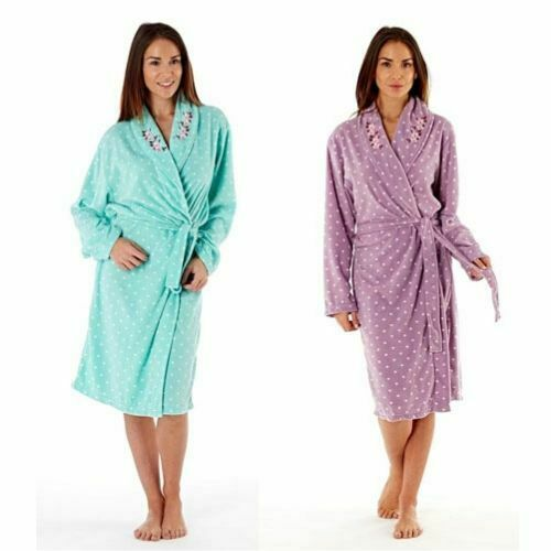 Womens Dressing Gown Luxury Robe Fleece Mothers Day Housecoat 14 16 18 20 22 24