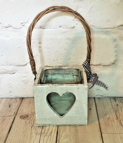 White Tea light Candle Holder Wooden Box with Heart Glass Insert wicker handle