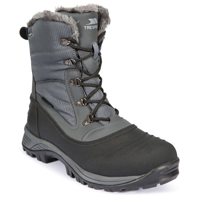 MENS TRESPASS THERMAL LINED WINTER APRES SKI SNOW BOOTS GREY SIZES 7-12 NEW