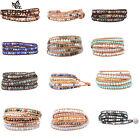 Women Men 2/3/5 Wrap Wrist  Beads Bracelets Natural Leather Agate Turquoise