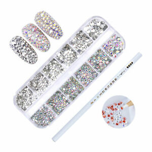 Nagel-Strasssteine-und-Picker-Stift-Glitzer-Strass-3D-Nagel-Kunst-Dekoration-Lot