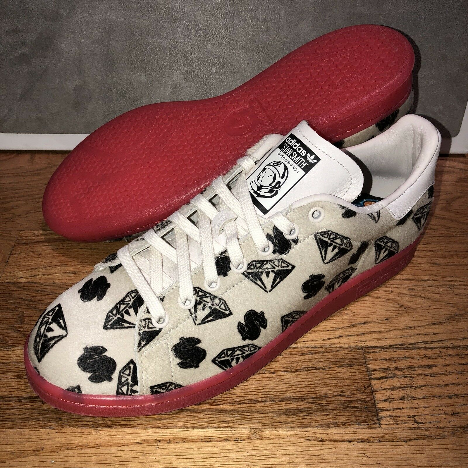 Pharell Pharell Pharell williams der bbc x adidas stan smith pony haar sz 11 weiß - rot neue ds bb107b