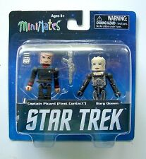 STAR TREK LEGACY MINIMATES Series 1 CAPITANO PICARD Borg QUEEN 2-Pack FIGURE