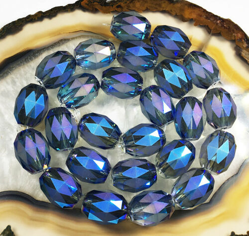 """10x12mm Faceted Pretty Blue Color Crystal Quartz Loose Beads 15/"""""""