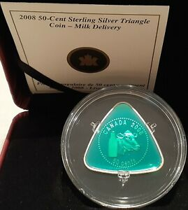 Milk-Delivery-50-cent-2008-2-3OZ-Sterling-Silver-Proof-Triangle-Coin-Canada