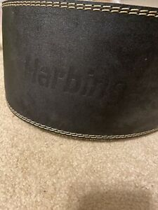 Harbinger-6-034-Padded-Leather-Weight-Lifting-Training-Belt-Size-XL-Pre-Owned