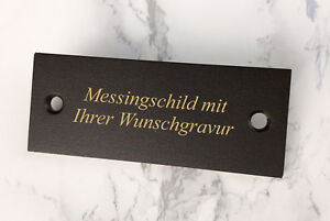 schwarz-GEDENKSCHILD-Tuerschild-aus-Messing-100x40mm-mit-WUNSCHGRAVUR
