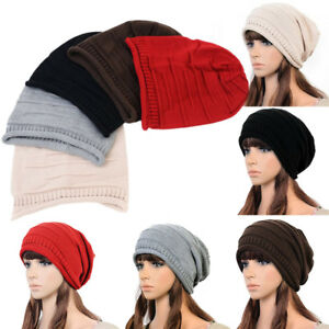 NEW Baggy Beanie Hat Unisex Women Men Winter Warm Knit Beret ... b4c4e380efd
