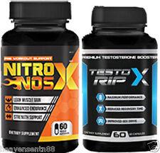 Nitro NOS X & Testo Rip X STACK Nitric Oxide L-Arginine Tongkat RIPPED CUT MASS