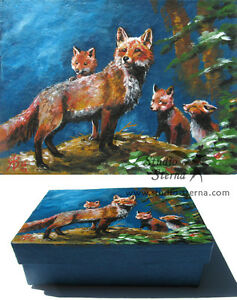 Hand-bemalte-Schachtel-Fuchs-Kunst-Tier-hand-painted-box-fox-family-animal-art