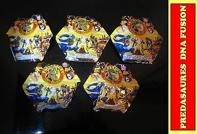 Lot of 5 toy Predasaurs DNA fusion dinosaur Mystery foil packs