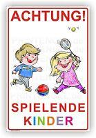 Schild Achtung Spielende Kinder Warnschild Alu Verbund 3mm 300x450mm Art.kind 1