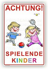 """langsam fahren Schild /""""Achtung spielende Kinder/"""" 20 x 30cm Art 65 Warnhinweis"""
