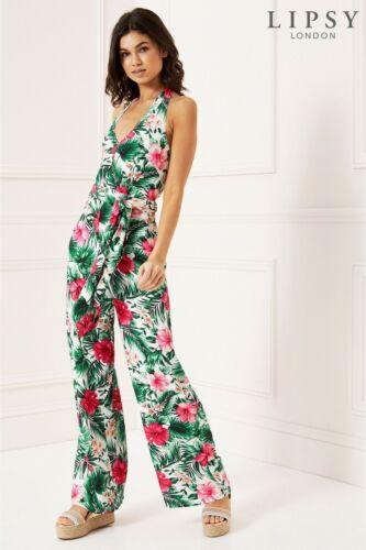 LIPSY  halterneck summer white Tropical floral print chiffon wide leg Jumpsuit