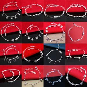 925-European-sterling-NEW-Women-silver-bracelet-Bracciali-bangle-chains-Jewelry