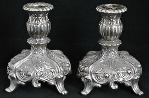 Vintage Heavy Ornate Embossed Silver Plated Footed Candlesticks Candle Holder