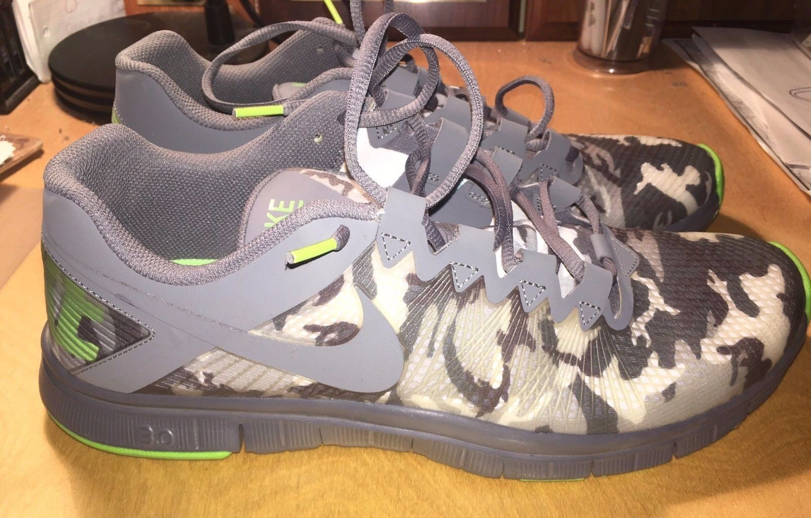 Nike Free Trainer 3.0 Camo Running Shoes 625164-002 Dark Cool Wolf Grey Mens 13