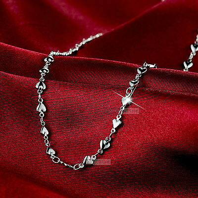 18k white gold gf plain heart necklace 47cm 18.5inches