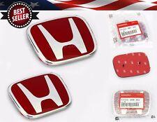 2 Pcs Red H Honda Emblem Replacement For 06-15 Honda Civic 4D Sedan Grille Trunk