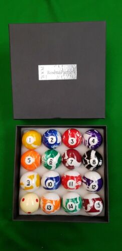 """MARBELIZED 2/"""" 51mm MARBLE PARTNERS MARBELISED POOL BALLS 1 7//8/"""" Cue ball 47.5mm"""