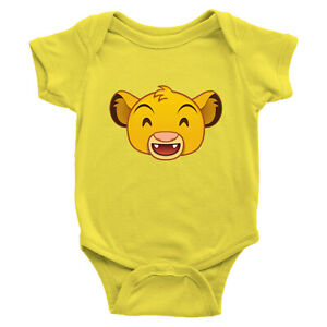 Infant-Baby-Rib-Bodysuit-Jumpsuit-Romper-Clothes-Lion-King-Simba-Happy-Smile