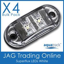 4 x 12V SUPERFLUX LED WHITE MARKER LAMPS - Boat/Truck/Trailer/RV Clearance Light