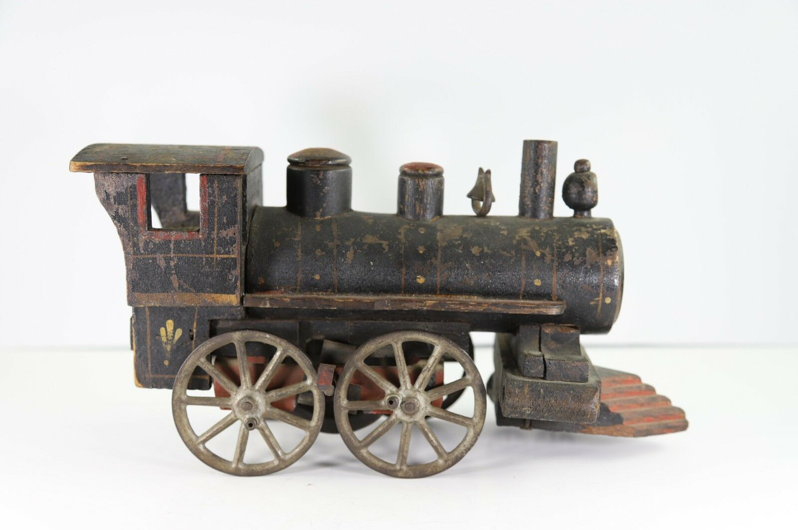 Antique Wood Locomotive Floor Toy with Metal Wheels and Original Painted Finish