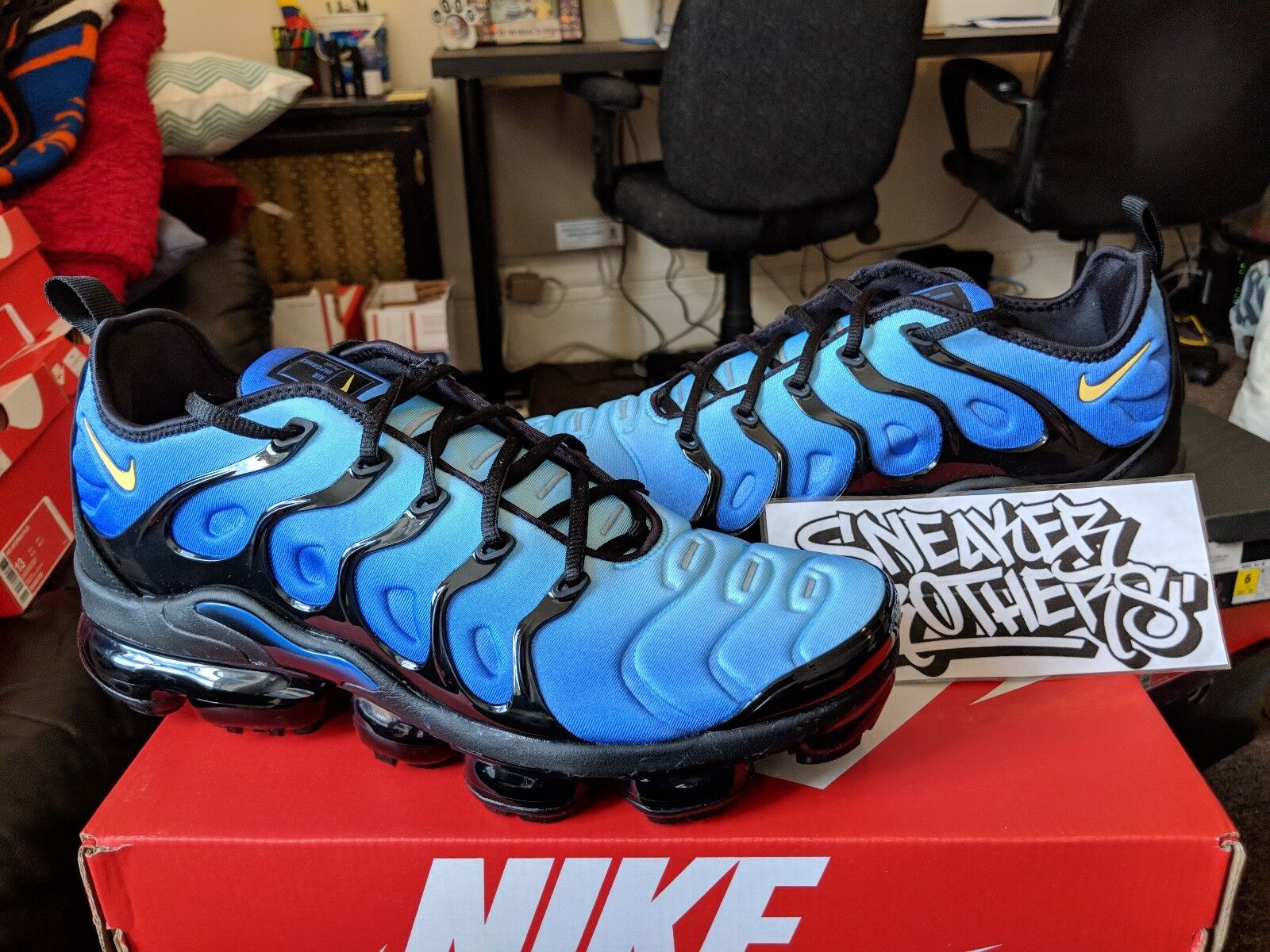 Nike Air Vapormax Plus Hyper Blue Black Yellow Reflective Men Running 924453-008