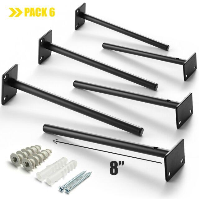 "4 pcs RigMore 6/"" Solid Steel Floating Shelf Bracket Blind Shelf Supports"