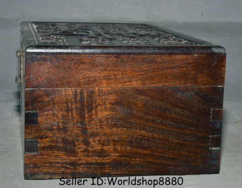 """12/"""" Antique Old Chinese Dynasty Palace Huanghuali Wood 寿 Words Jewelry box Boxes"""
