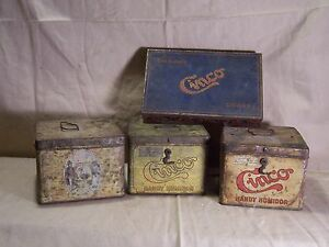 Antique-Vintage-Cinco-Tobacco-Lunchbox-Style-Tin-w-Hinge-Clasp-Handle-Humidor