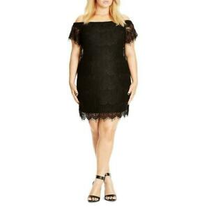 New-119-Value-CITY-CHIC-24W-Black-Lined-Lace-Off-The-Shoulder-Bodycon-Dress